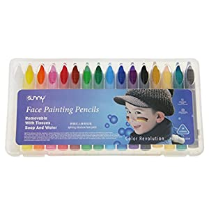 Face Body Paint Crayons Painting Fun Sticks Set 16 Colors Professional Painting Pens Kit Special Cosmetic Case Makeup Paint Pencils for Halloween, Easter, Theme Parties, Cosplay, Fancy Dress Ball