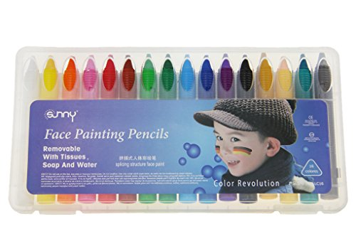 [16 Colors Face Paint--Non Toxic Makeup Painting Crayon for Birthday/Theme/halloween Party,Fancy] (Halloween Costumes 03)