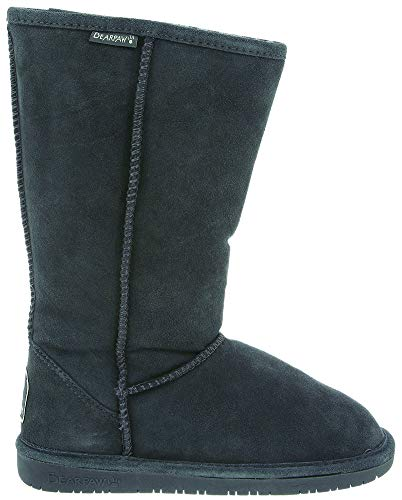 BEARPAW Womens Emma Tall 12-inch Suede Sheepskin Boot, Charcoal, US 5 (Womens Suede Sheepskin Wedge)