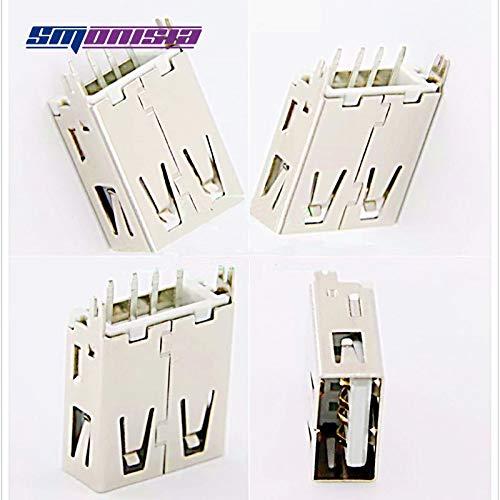 Gimax 100pcs USB Female Plug Socket Vertical line 17.5mm USB Jack ...
