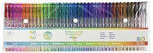 320 Piece Gel Pen Set - 160 UNIQUE Colors PLUS 160 Refills - Ideal for Adult Coloring Books - Premium Quality Pens-Glitter, Metallic, Fluorescent, Pastel, Neon, Standard, Watercolor, Rainbow Colors