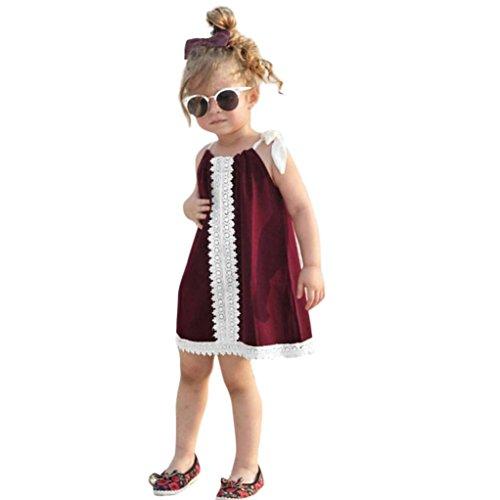 Drawstring Sleeveless Halter Dress (OWMEOT Dress Toddler Baby Gilrs Sleeveless Lace Halter Neck Dress Drawstring Sundress Ouifit (12M, Wine))