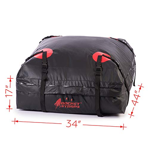 Rocket Straps  Car Top Carrier   Roof Bag Storage   Use Car Carriers Rooftop Luggage Carrier with Roof Racks & Cross Bars   100% Waterproof PVC 15 cuft RoofBag   Inc Carrier Bag & (2) Lashing Straps by Rocket Straps (Image #3)