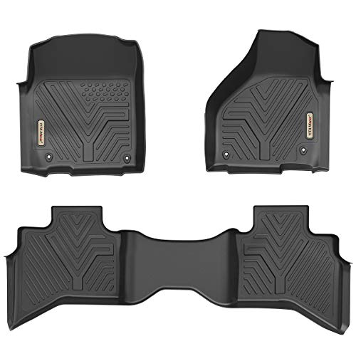 (YITAMOTOR Floor Mats for Ram 1500, Custom Fit Floor Liners for 2012-2018 Dodge Ram 1500 Quad Cab Only, 1st & 2nd Row All Weather Protection)
