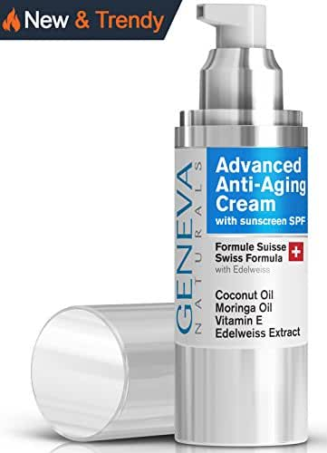Face Moisturizer with SPF - Natural Swiss Anti-Aging Formula With SPF 20 Sunscreen Features Coconut Oil, Vitamin E, Edelweiss Extract For Everyday Sun Protection - Men and Women