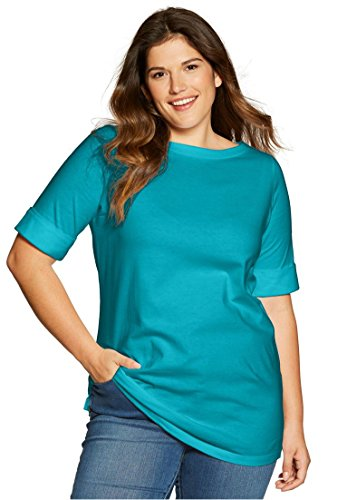 Womens Plus Size Perfect Boatneck Tee With Cuffed Elbow Length Sleeves