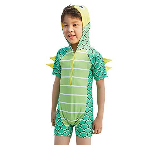 Tronet Baby/Toddler Girl Swimsuit Summer Child Boys Dinosaur Hooded Bathing Suit Short Sleeve Pool Beach Swimwear Green ()