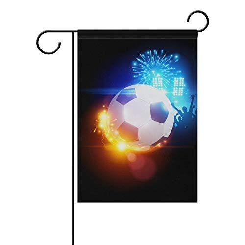 HUVATT Vintage Sports Football Soccer Fire Flames Garden Yard Flag Banner for Outside House Flower Pot Double Side Print 28 x 40 -