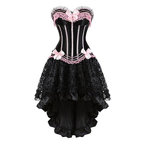 Frawirshau Gothic Halloween Lace up Corset Moulin Rouge Showgirl Clubwear Fancy Dress XL