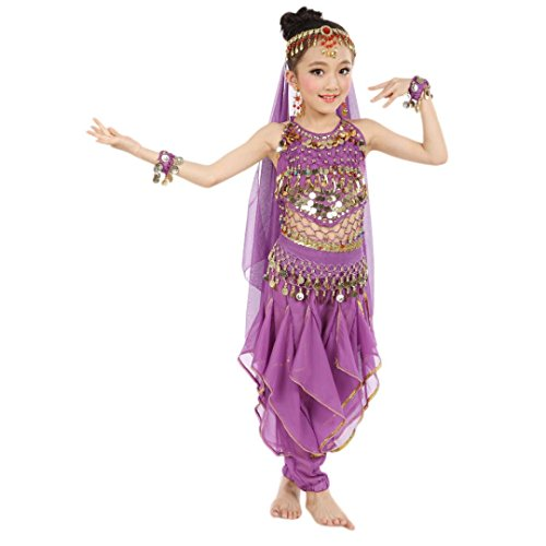 [Misaky Girls Oriental Belly Dance Costumes Child Egypt Dance Outfits Set (S(105-125CM), Purple)] (Cute Costumes For Dance)