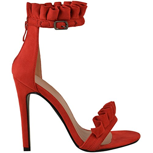 balze Rosso Pelle SANDALI fronzoli DECORATO Scamosciata MISURA donna UK Antoinette ALTO PARTY TACCO a 1PwnqF