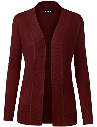 Burgundy Cardigan Sweater - BILY Women Open Front Long Sleeve Classic Knit Cardigan Burgundy X-Large