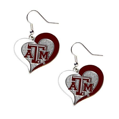 NCAA Texas A&M Aggies Swirl Heart Earrings