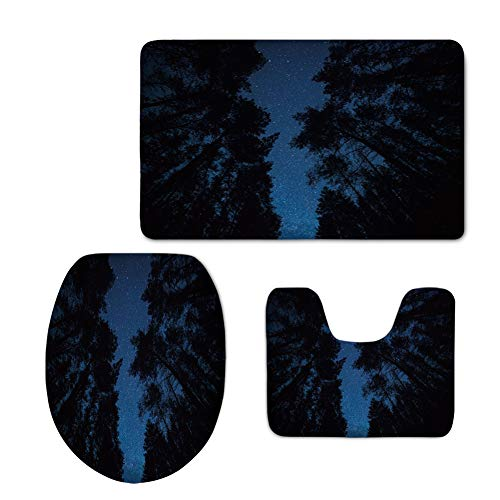 3 Piece Anti-Slip mat Set,Night Sky,Dark Sky at Dawn in Mountain Forest with Pine Trees Stars Nebula Photo Decorative,Dark Blue and Black,3D Digital,Printing