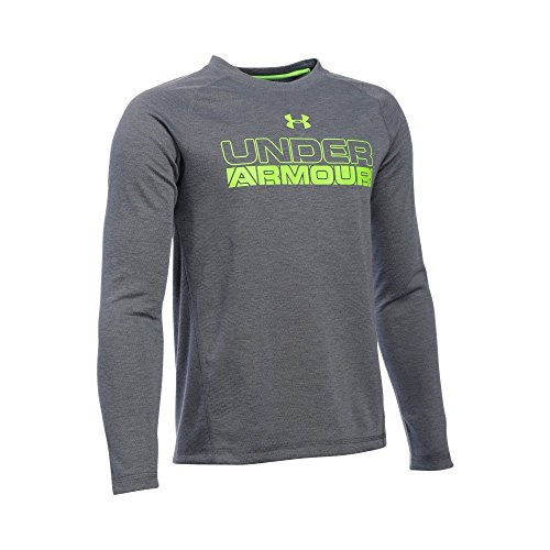 Under Armour Boys' ColdGear Infrared Long Sleeve, Graphite/Fuel Green, Youth Medium - Boys Coldgear Long Sleeve
