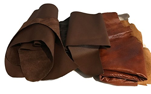 Premium Genuine Leather Scraps - Large Leather Pieces for Crafting - 2 LBS Brown - Beige - 2-4 Pieces ()