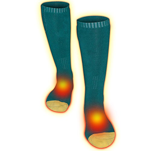 Greensha Rechargeable Electric Battery Heated Socks for Chronically Cold Feet,Outdoor Sport Thermal Socks for Men and Women,Premium Hiking Climbing Foot Warmer Thermosocks (Green&White, Size free)