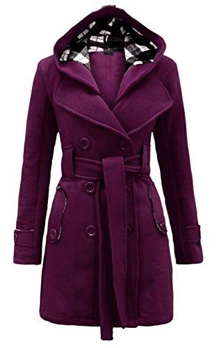 Noroze Womens Check Hood Plus Size Duffle Coat (14 (UK 18), Purple) ()
