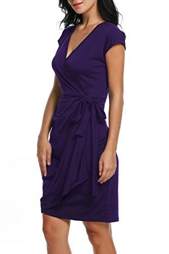 Zeagoo Tie Draped Faux Neck Wrap Belt Sleeve Purple1 Cap Cocktail Classic V Dress Women's Frq4TRF