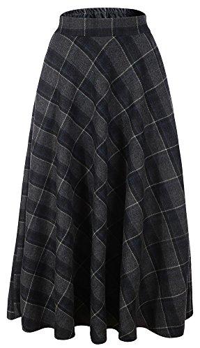 """Vocni Women Flared Plaid A-Line Winter Wool Blend Midi Long Skirt,Grey Plaid,US XS/Tag L (Waist 28"""")"""