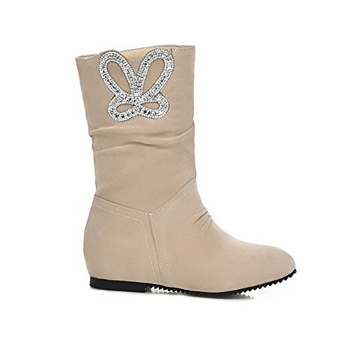 Low Glass Women's Heels PU Allhqfashion Diamond Apricot with Frosted Boots d4t0AAWwqx