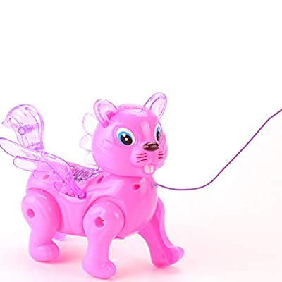 helegeSONG Kids Toys, Funny Dog Squirrel Animal Musical Lighting with Leash Walking Doll Kids Toy Gift - Random Color Dog: Toys & Games