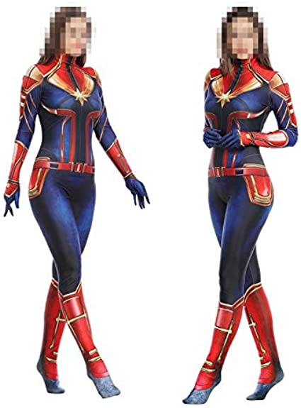 TOYSSKYR Capitán Marvel Cosplay Disfraz Medias corporales para ...