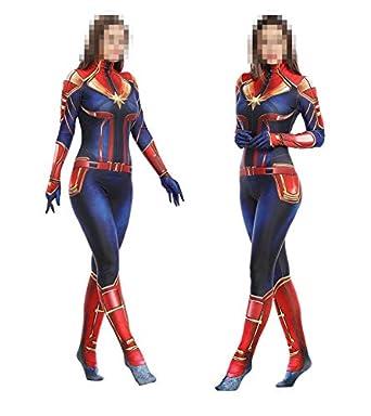 Capitán Marvel Cosplay Disfraz Medias corporales para adultos ...