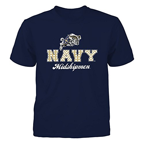 - FanPrint Navy Midshipmen T-Shirt - Patterned Letters - Youth Tee/Navy/XL