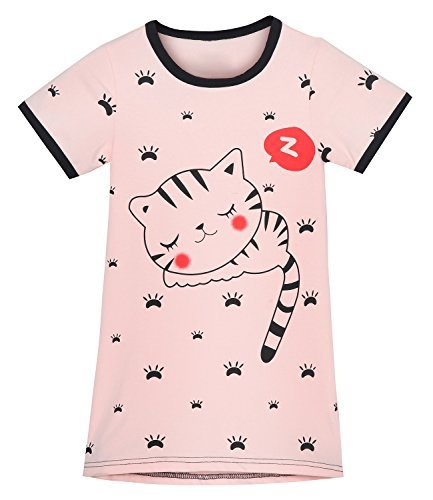 Girls' Kitten Nightgowns & Cat Footprint Sleep Shirts Loungewear for Child, Cat and Footprint, 6-7 Years/Tag 140 by HOYMN