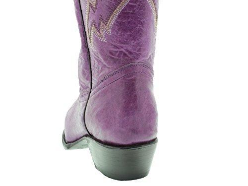Cowboy Professionele Dames Paarse 590 Klassieke Lederen Cowboylaarzen Knip Teen Paars