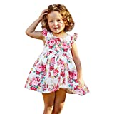 NUWFOR Children's Kids Girls Fly Sleeve Flower Print Dance Party Princess Dress(Multicolor,6-12 Months)