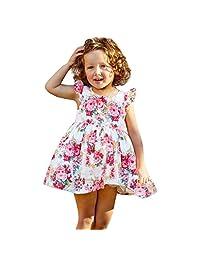OCEAN-STORE Girls Dress Children's Kids Fly Sleeve Flower Dance Party Princess Prom Ball Gown