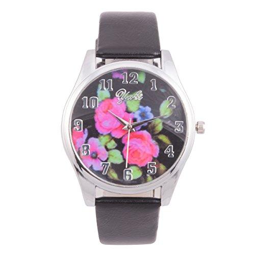 Yaki Vintage Armbanduhr Damen Blumenmuster Analog Quarz Uhr Lederband Schwarz Römisch Ziffern Neu