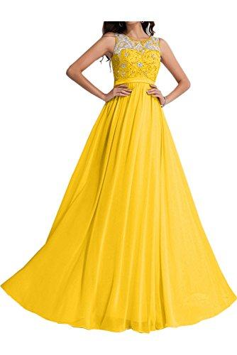 Linie Promkleid Ballkleid Abendkleider Ivydressing A Damen Steine Rundkragen Golden Chiffon naqU0X0CW