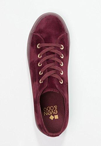 Even Plateau Samt mit elegant Bordeaux Schnürschuhe Damen Plattform Casual amp;Odd Sneaker in Flache Sohle Schnüren zum Look Samtschuhe Schnürschuh Edlem qr4zrE