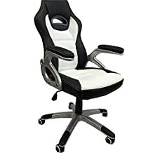 ViscoLogic® Series Gaming Racing Style Swivel Height Adjustable Home Office Computer Desk Chair (Black & White)