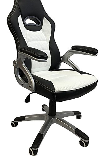 ViscoLogic Series Gaming Racing Style Swivel Office Chair, White/Black YF-2741 WB