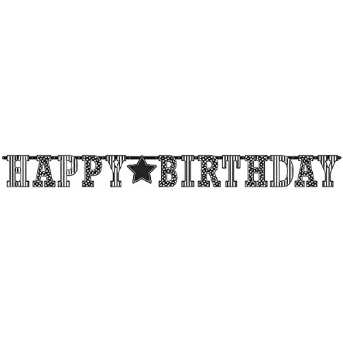 Classic Black and White Birthday Party Giant Letter Banner Decoration, Multi , 11 Feet x 12 1/2