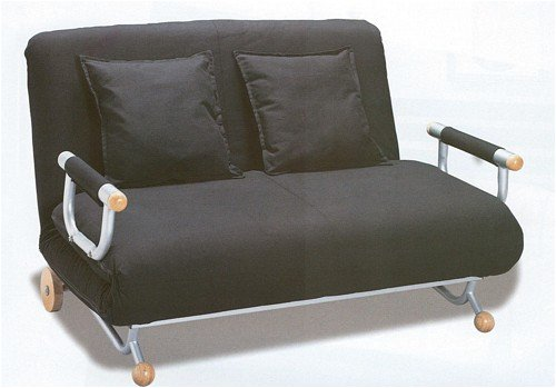 Price comparison product image Black Modern Futon Couch Metal Wood Accents