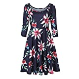 Vibola Dress for Women, O-Neck Floral Printing Swing Dress (XL, Dark Blue)