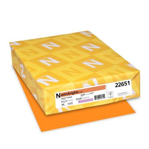 Neenah Astrobrights Premium Color Paper, 24 lb, 8.5 x 11 Inches, 500 Sheets, Cosmic Orange