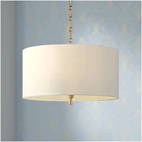 Warm Gold Drum Pendant Chandelier 20 Wide Modern White Linen Shade Fixture for Dining Room House Foyer Kitchen Island Entryway Bedroom Living Room – Barnes and Ivy