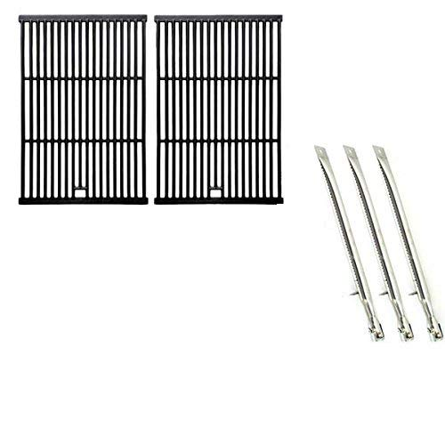 (Repair Kit for Sterling 526454, 526464, 536454, 536464 BBQ Gas Grill Includes 3 Stainless Burners and Cast Iron Cooking Grates)