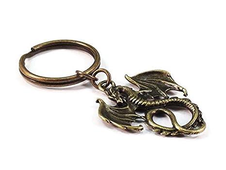 Dragón llavero bronce Metal estilo Medieval clave Anillo ...