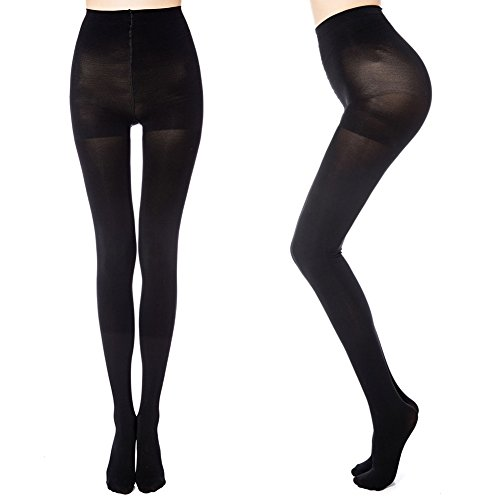cb8ab221934 MANZI 2 Pairs Run Resistant Control Top Panty Hose Opaque Tights