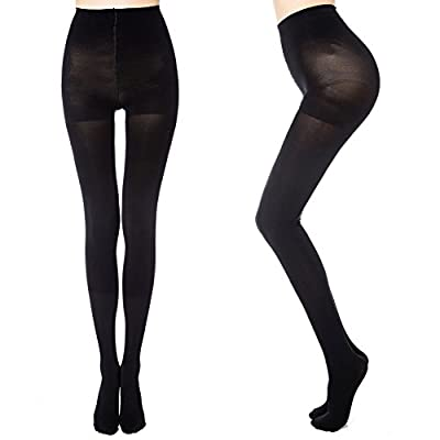 MANZI Women's 2 Pairs Opaque Control-Top Tights 70 Denier Pantyhose at Women's Clothing store