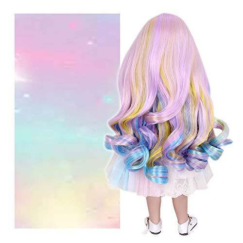 STfantasy Doll Wig for 18 Inches American Girl Doll AG OG Journey Girls Gotz My Life Ombre Candy Curly Synthetic Hair Girls Gift]()