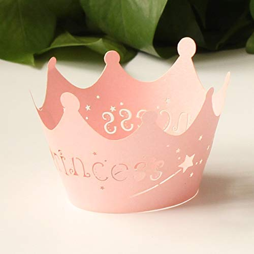 (24pcs Pink Princess Crown Cupcake Wrappers Cases Wedding Christening Baby Girl Shower Party Cake Decoration )