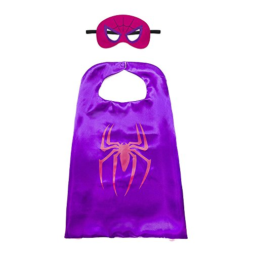 Aodai Halloween Costumes and Dress up for kids - Girl spiderman Costume Cape and Mask -
